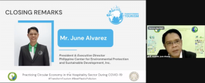 Mr. June Alvarez, President & Executive Director of PCEPSDI, provided the Closing Remarks by wholeheartedly thanking the speakers and participants, as well as encouraging everyone to practice the principles of circular economy whenever they can